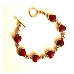 Jewelry - Sterling silver Mexico 925 Heart Bracelet 7in
